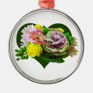 Sweetheart Bouquet Round Metal Christmas Ornament