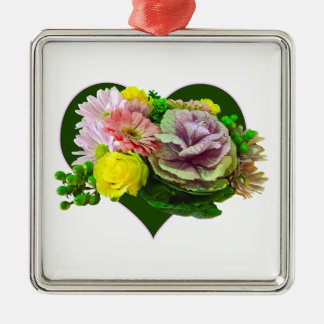 Sweetheart Bouquet Square Metal Christmas Ornament