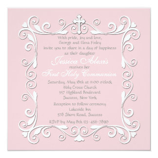 "Sweetheart Corners Religious Invitation 5.25"" Square Invitation Card"