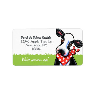 Sweetheart Cow Moved Custom Tagline Label