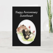 Sweetheart Humor Anniversary Farm Country Chicken Card