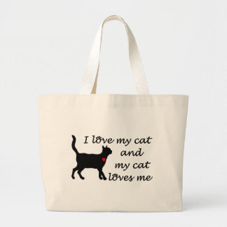 Sweetheart I Love My Cat Large Tote Bag