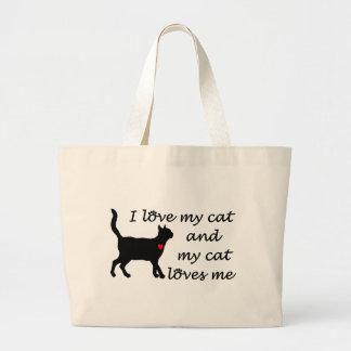 Sweetheart I Love My Cat Large Tote Bag