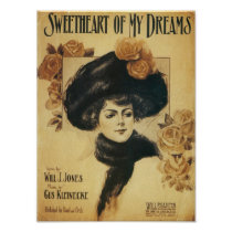 Sweetheart of My Dreams Vintage Songbook Cover Poster