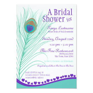 Sweetheart Peacock Feather Bridal Shower 5x7 Paper Invitation Card