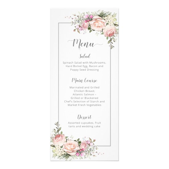 Sweetheart Pink Roses Light Gray Framed Menu