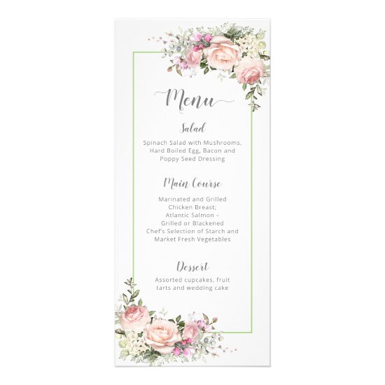 Sweetheart Pink Roses Pale Green Framed Wedding Rack Card