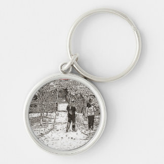 Sweetheart. Silver-Colored Round Keychain