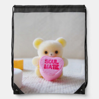 sweetheart valentines day bear pink heart candy drawstring backpack