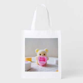 sweetheart valentines day bear pink heart candy reusable grocery bag