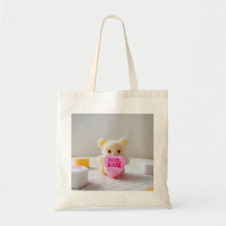 sweetheart valentines day bear pink heart candy tote bag