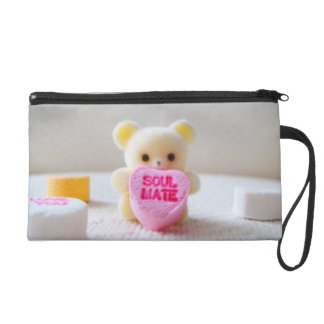 sweetheart valentines day bear pink heart candy wristlet
