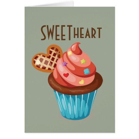 Sweetheart Valentine's Day Cupcake Design Card