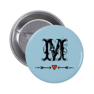 Sweethearts and Arrows Blue Monogram Pinback Button
