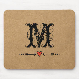 Sweethearts and Arrows Monogram Mouse Pad