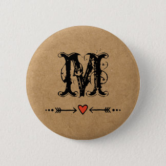 Sweethearts and Arrows Monogram Pinback Button