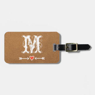 Sweethearts and Arrows White Monogram Luggage Tag