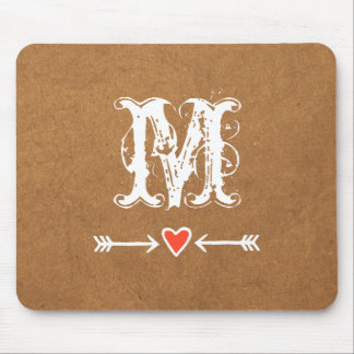 Sweethearts and Arrows White Monogram Mouse Pad