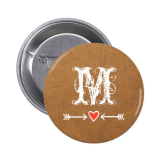 Sweethearts and Arrows White Monogram Pinback Button