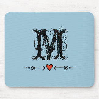 Sweethearts and Blue Arrows Monogram Mouse Pad