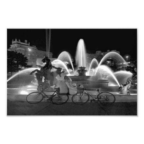 Sweethearts at the J C Nichols Fountain B W Photo Print