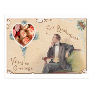 Sweethearts Candy Victorian Man Collage Postcard