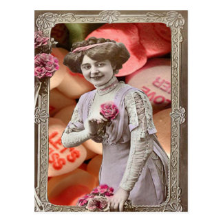 Sweethearts Collage Victorian Woman Rose Postcard