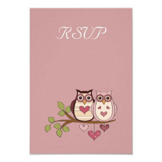 Sweethoots rosado que casa la tarjeta de RSVP Invitación 8,9 X 12,7 Cm
