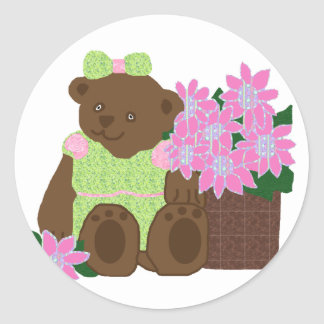 Sweetie bear with flowers stickers