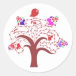 sweetie bird and love tree round sticker
