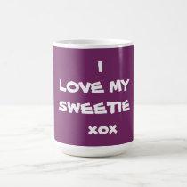Sweetie Coffee Mug  I LOVE MY SWEETIE Purple Cup