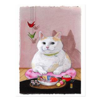 Sweetie del Sashimi del gato del sushi Tarjeta Postal