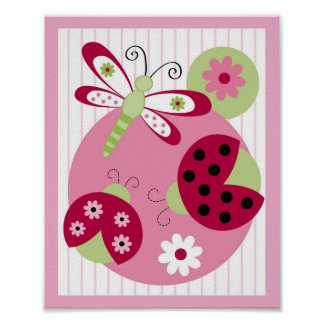 Sweetie Pie Ladybug Dragonfly Nursery Wall Art
