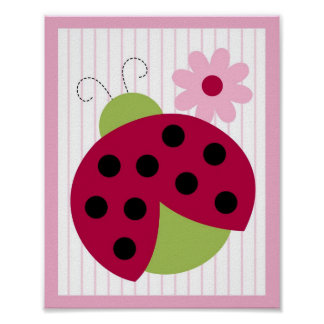 Sweetie Pie Ladybug Flower Nursery Wall Art Print