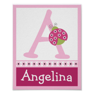 Sweetie Pie Ladybug Letter & Name Wall Art Poster