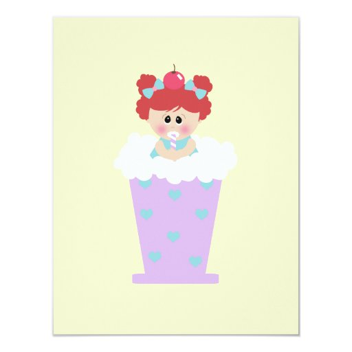 sweetie tooth ice cream soda cutie girl 4.25x5.5 paper invitation card