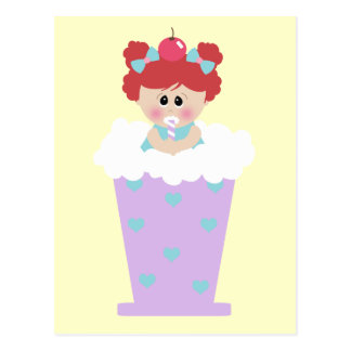 sweetie tooth ice cream soda cutie girl postcard