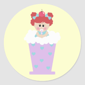 sweetie tooth ice cream soda cutie girl round stickers