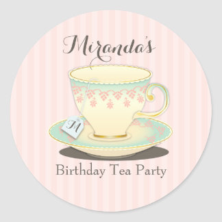 Sweetly Chic Birthday Teacup Tea Party Sticker