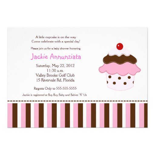 Sweetness 'Lil Cupcake 5x7 Baby Shower Invitation