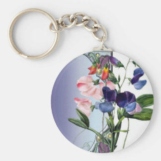 Sweetpea flowers basic round button keychain