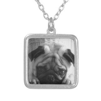 SweetPea Pugs Square Pendant Necklace