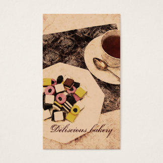 sweets and tea bakery business card template