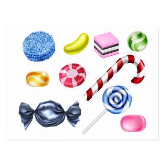 Sweets Candy Set Postcard