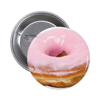 Sweets Dessert Food Pink Frosted Donut Pinback Button