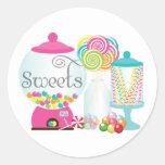 Sweets for Dessert Table Treats Bubblegum Rainbow Classic Round Sticker