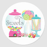 Sweets for Dessert Table Treats Bubblegum Rainbow Round Stickers
