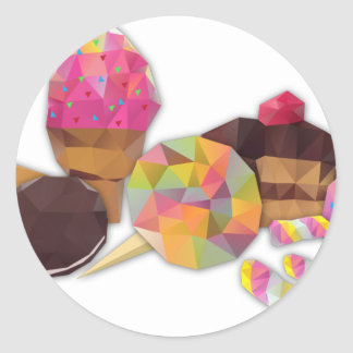 Sweets made by triangles classic round sticker