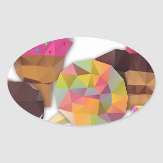 Sweets made by triangles oval sticker