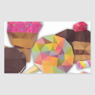 Sweets made by triangles rectangular sticker
